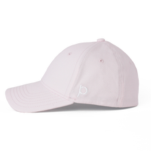 Load image into Gallery viewer, Side view of a pink Ponyback ponytail hat that showcases the Ponyback logo in white embroidery.