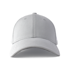 Load image into Gallery viewer, Front view of a grey ponytail hat with a structured front