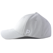 Load image into Gallery viewer, Side view of a grey ponytail hat that showcases the Ponyback logo in white embroidery.