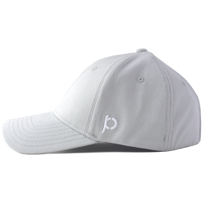 Side view of a grey ponytail hat that showcases the Ponyback logo in white embroidery.