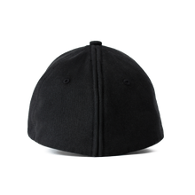 Load image into Gallery viewer, Back view of the black Ponyback ponytail hat, with back opening in closed position.