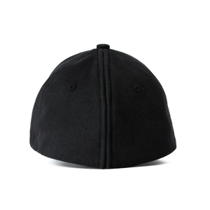 Back view of the black Ponyback ponytail hat, with back opening in closed position.