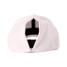 Load image into Gallery viewer, This a back view of the women's Ponyback primrose pink ponytail hat, with the large opening shown.