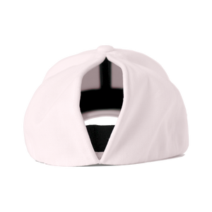 This a back view of the women's Ponyback primrose pink ponytail hat, with the large opening shown.