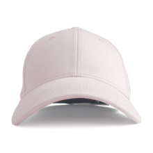 Load image into Gallery viewer, This is a front view of the women's Ponyback primrose pink ponytail hat.