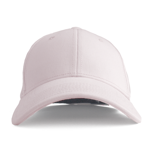 This is a front view of the women's Ponyback primrose pink ponytail hat.