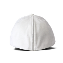 Load image into Gallery viewer, Back view of a white Ponyback ponytail hat with the back in closed position
