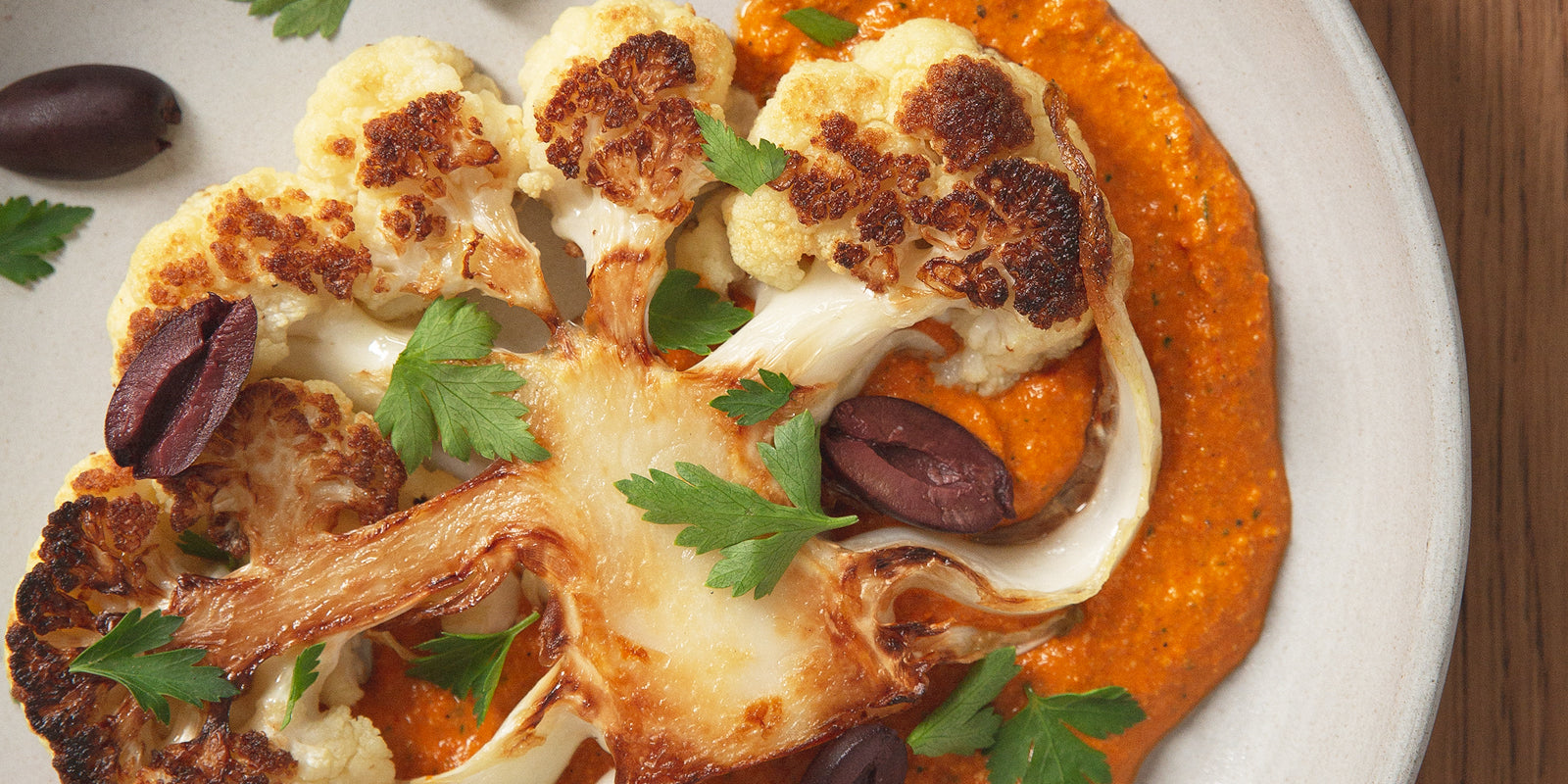 Cauliflower Steak & Protein Romesco Sauce
