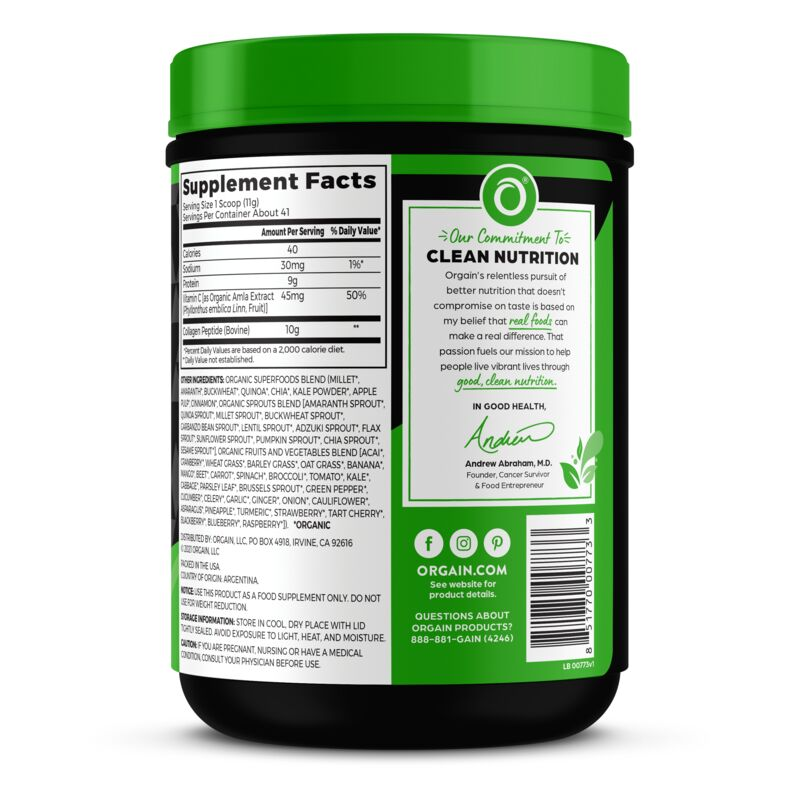 Grass-Fed Pasture Raised Collagen Peptides + Superfoods Powder