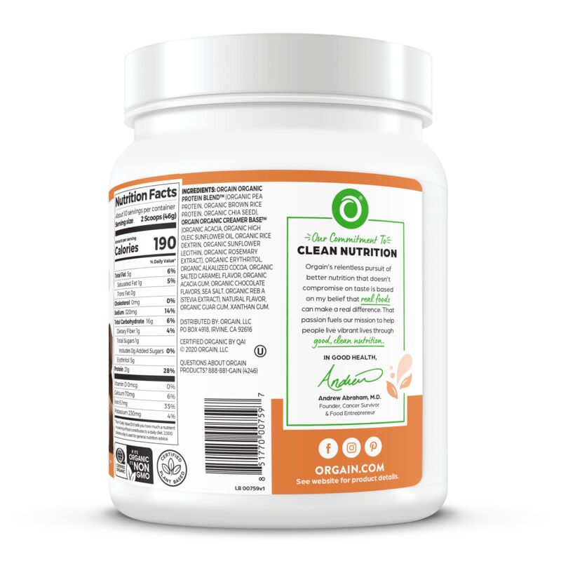Organic Protein™ Plant Based Protein Powder - Chocolate Caramel Sea Salt