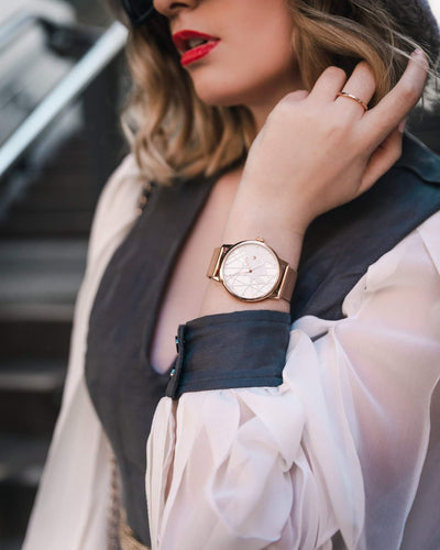 Womens Opera Rose Gold Mesh  - 40mm - Aiverc | Designer Watches