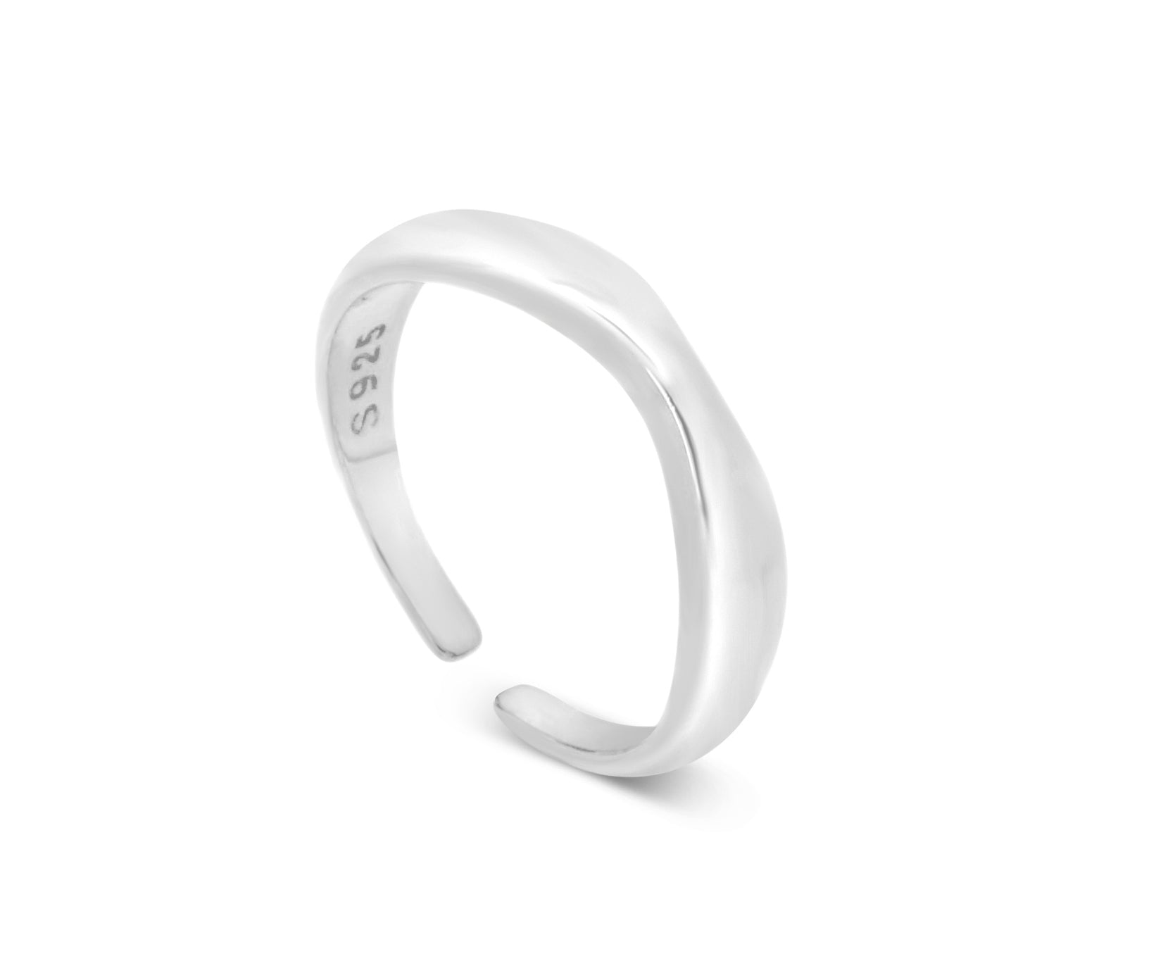 Geometric Silver Wavy Adjustable Ring - Aiverc | Designer Watches