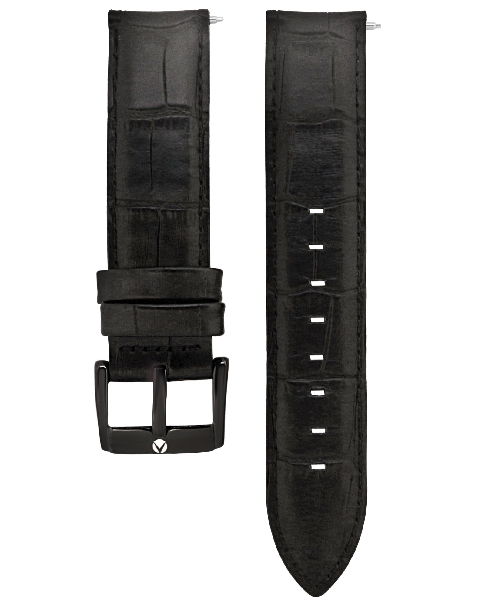 Black Leather Alligator Print Straps - Aiverc | Designer Watches