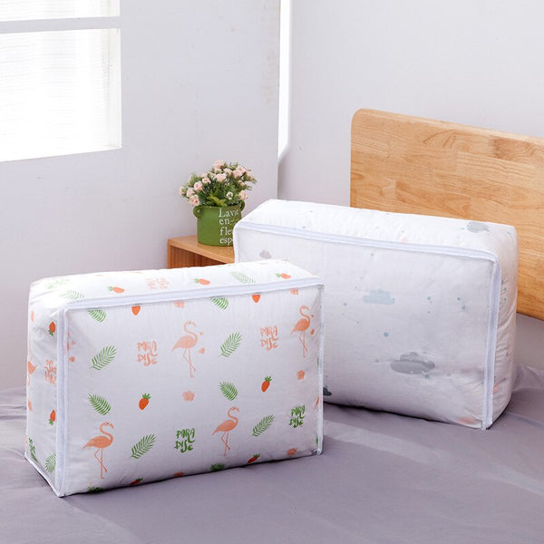 Portable Clothes Storage Bag Organizer. Foldable Bag For Clothing, Pillow, Blanket or Bedding