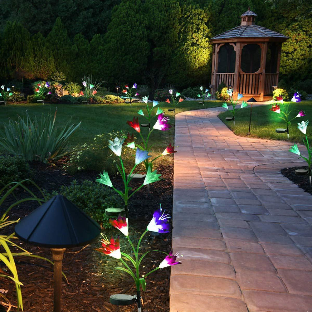 New-Upgraded Artificial Lily Solar Garden Stake Lights---2 Packs of 8 Lilies