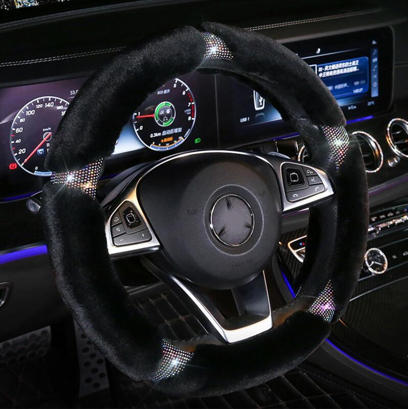 Crystal Fur Plush Car Steering Wheel Covers,Camellia Flower Steering Wheel Covers(Free Shipping,Buy 2 enjoy 10% off )