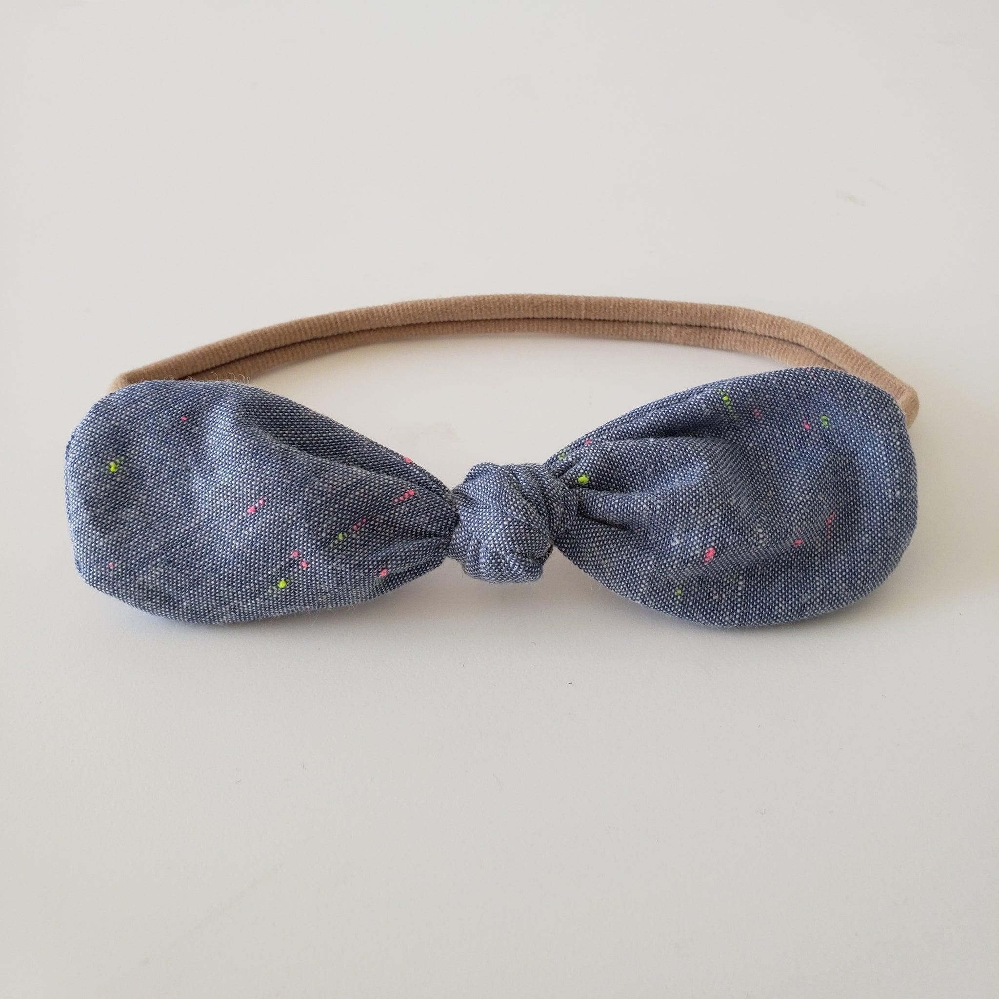 CHILDREN'S BOW HEADBAND - NEON CHAMBRAY