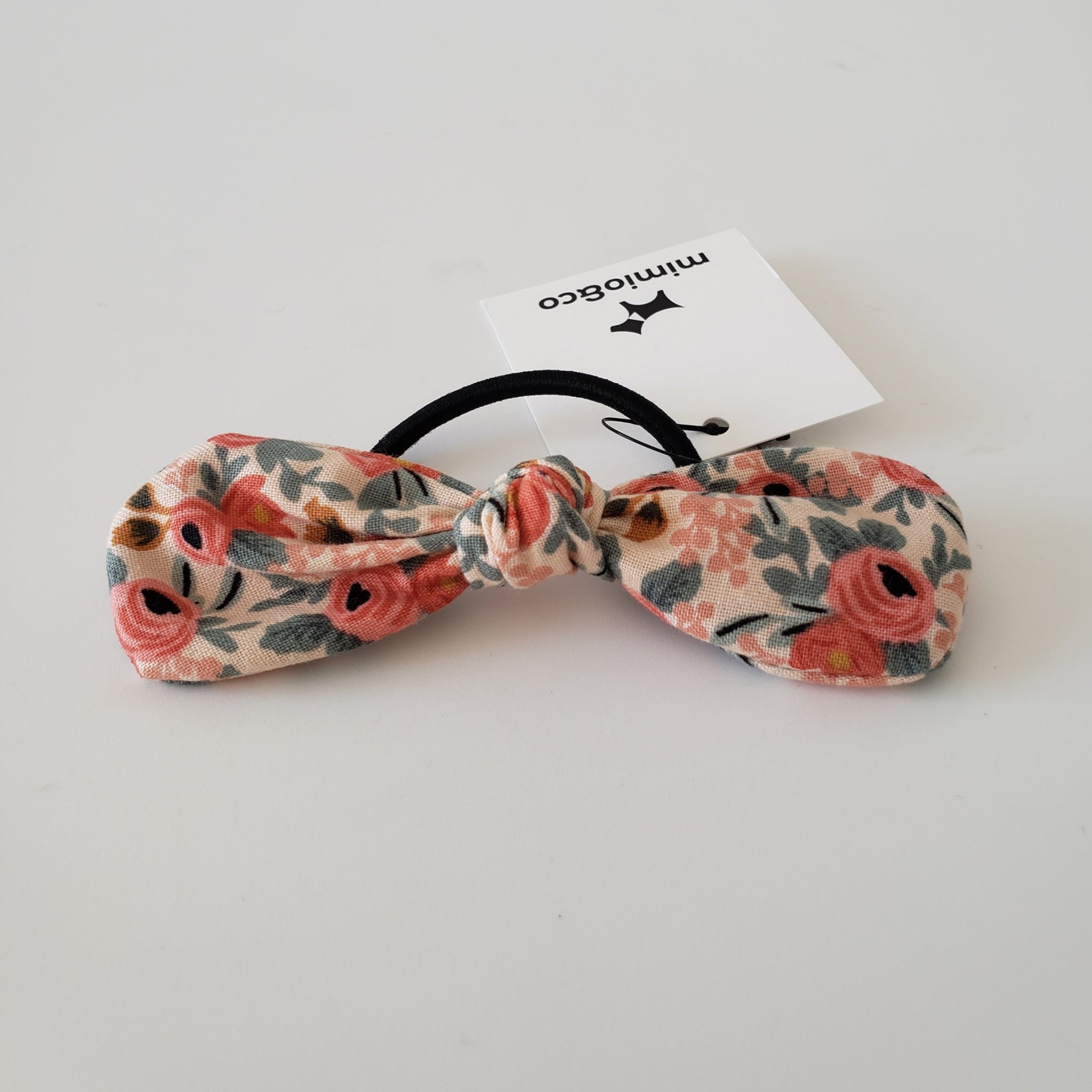 PET MOM'S BOW HAIR TIE - ROSE FLORAL