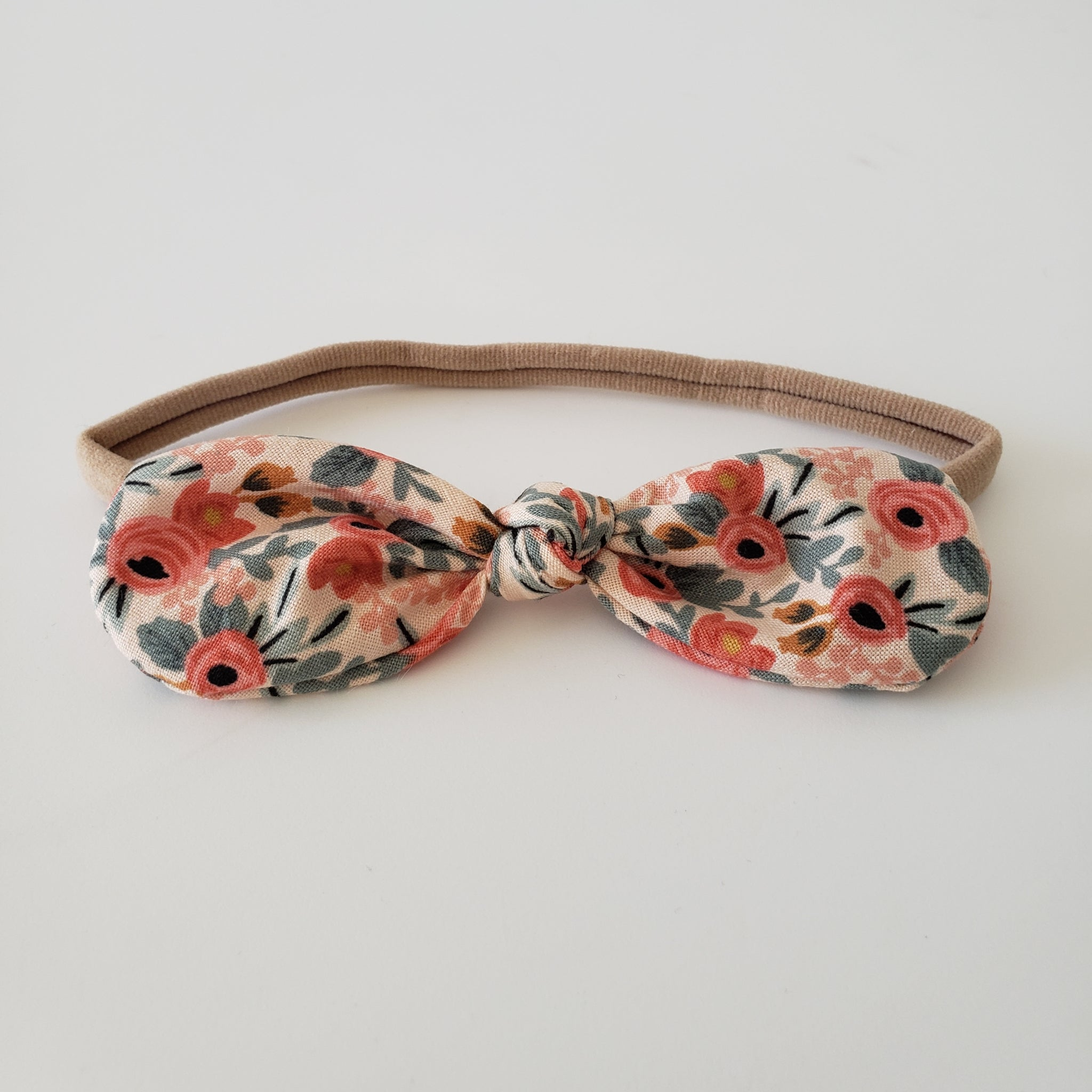 CHILDREN'S BOW HEADBAND - ROSE FLORAL