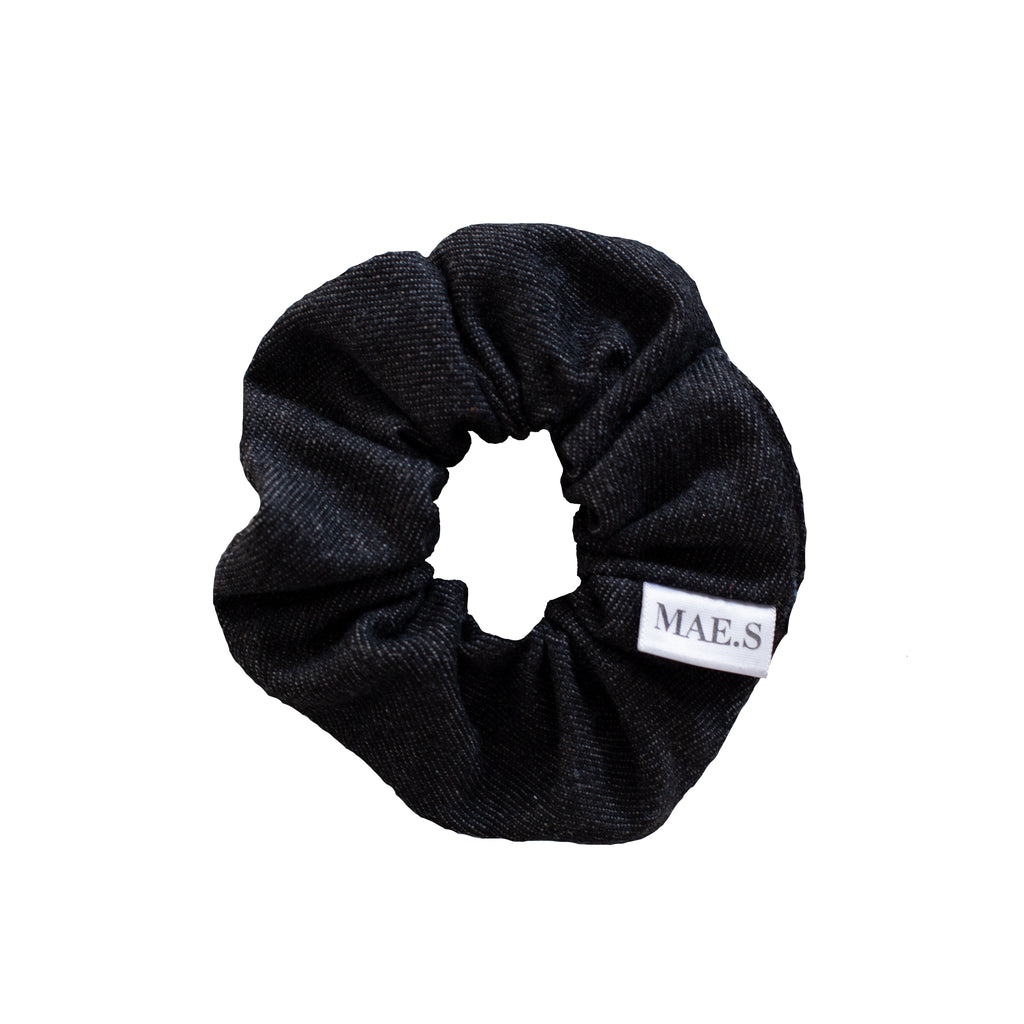 Scrunchie Charcoal Black Denim
