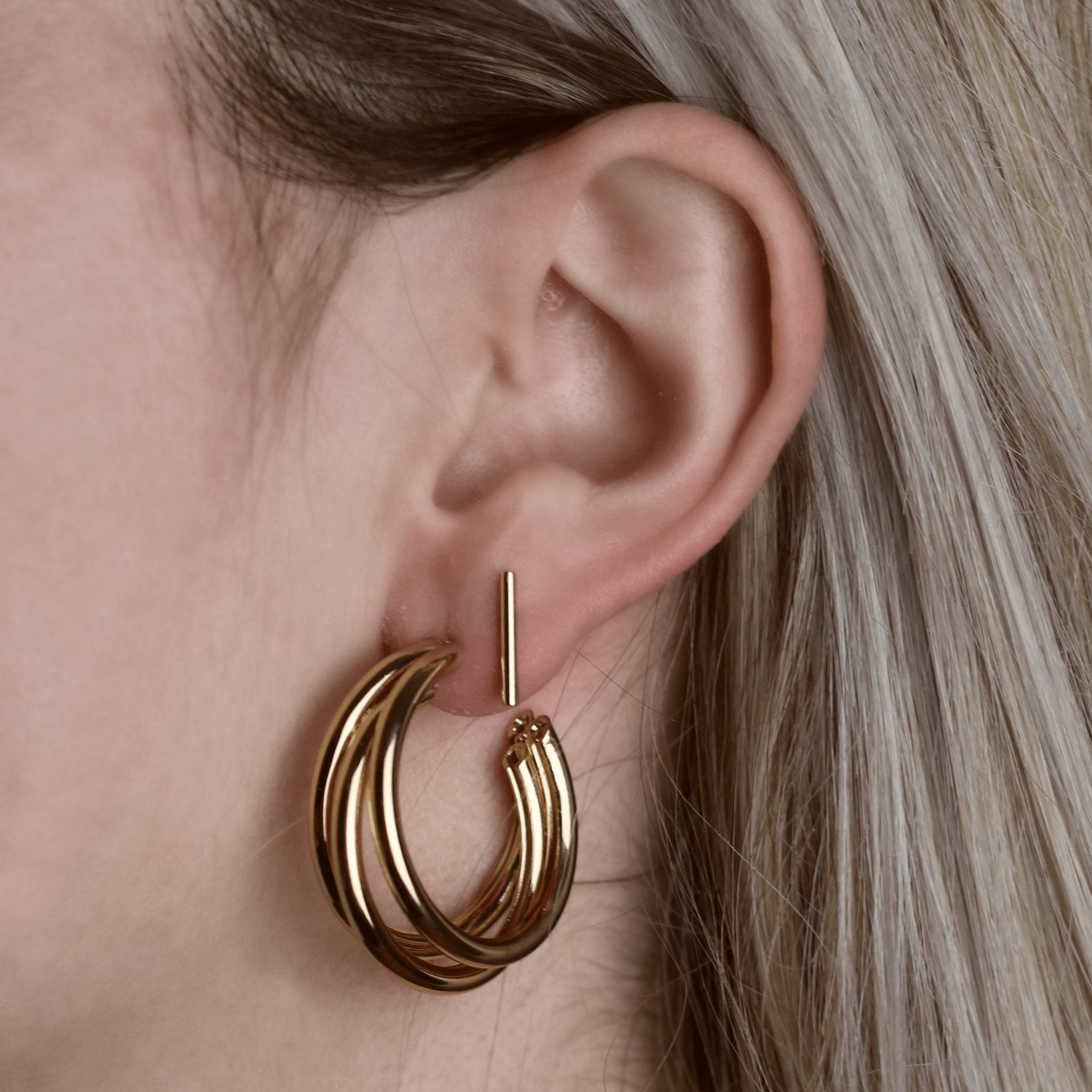 Triple Hoop Earrings Gold Medium