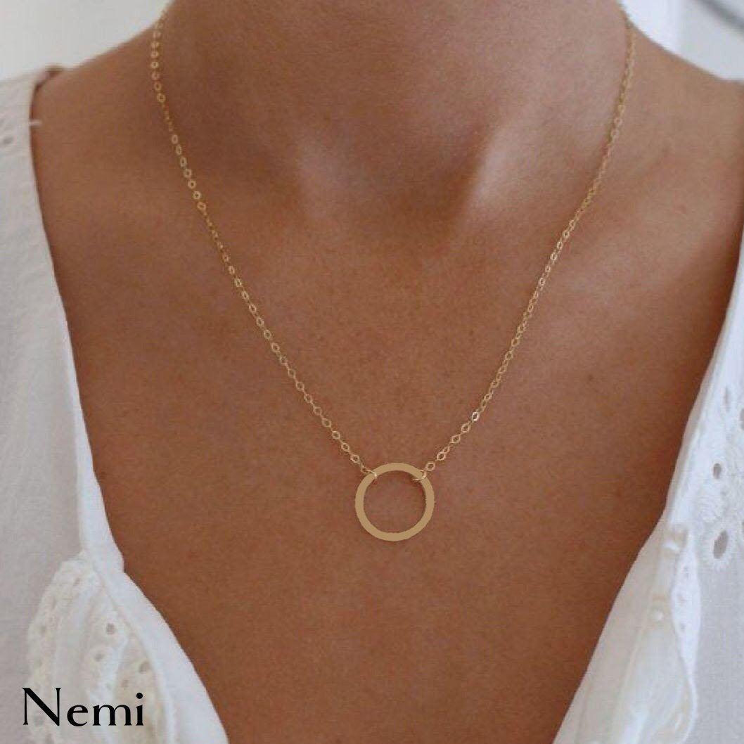 Around a Round Necklace Rosegold