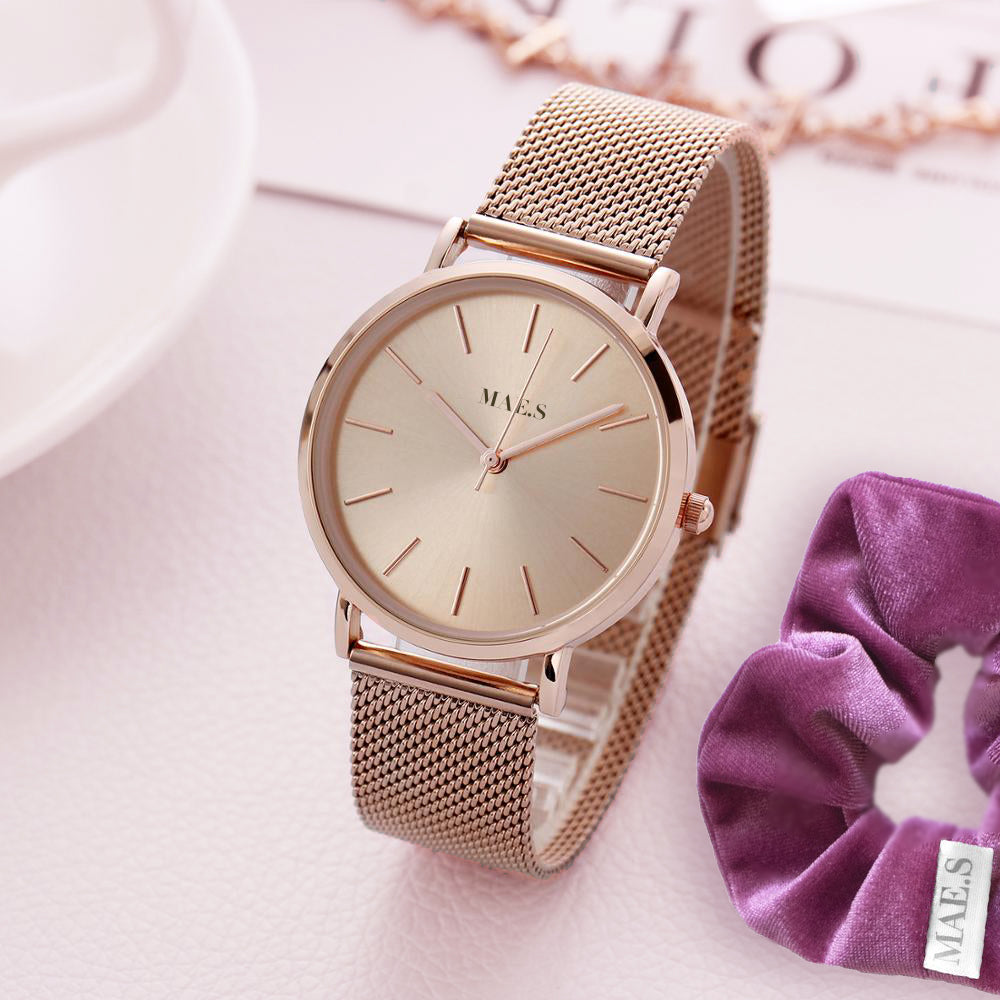 Double Rosegold Mesh Watch