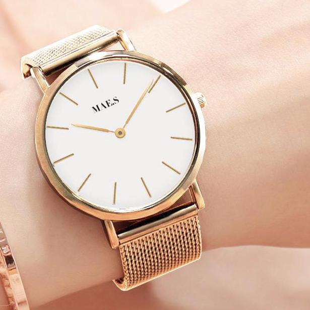 Gold White Mesh Watch