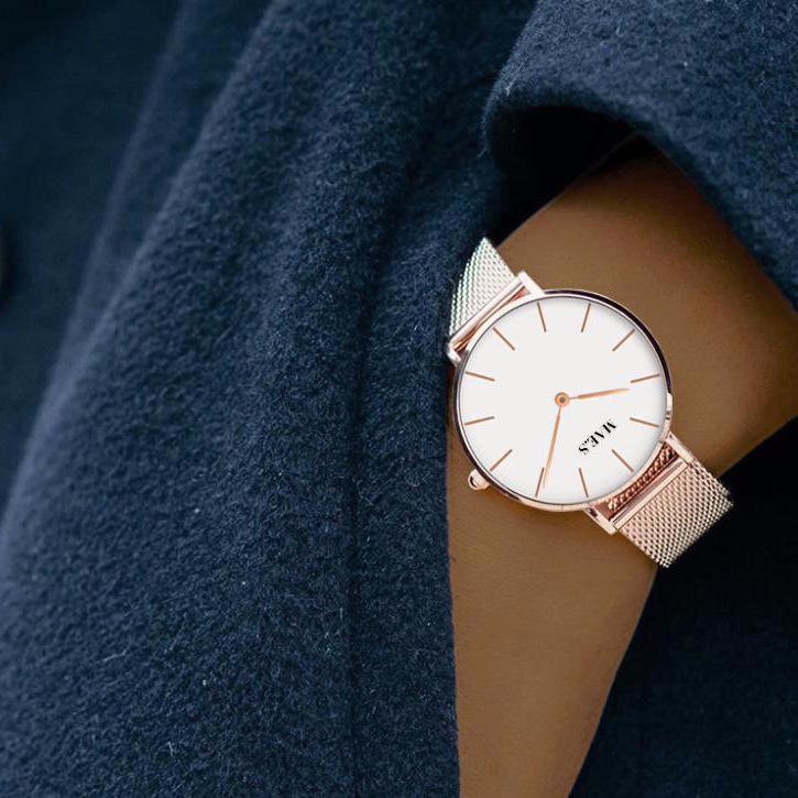 Rosegold White Mesh Watch