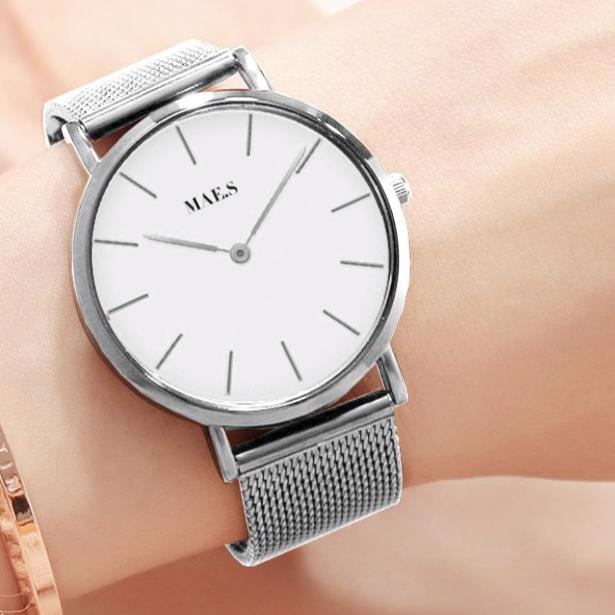Silver White Mesh Watch