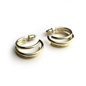 Triple Hoop Earrings Gold - Deal