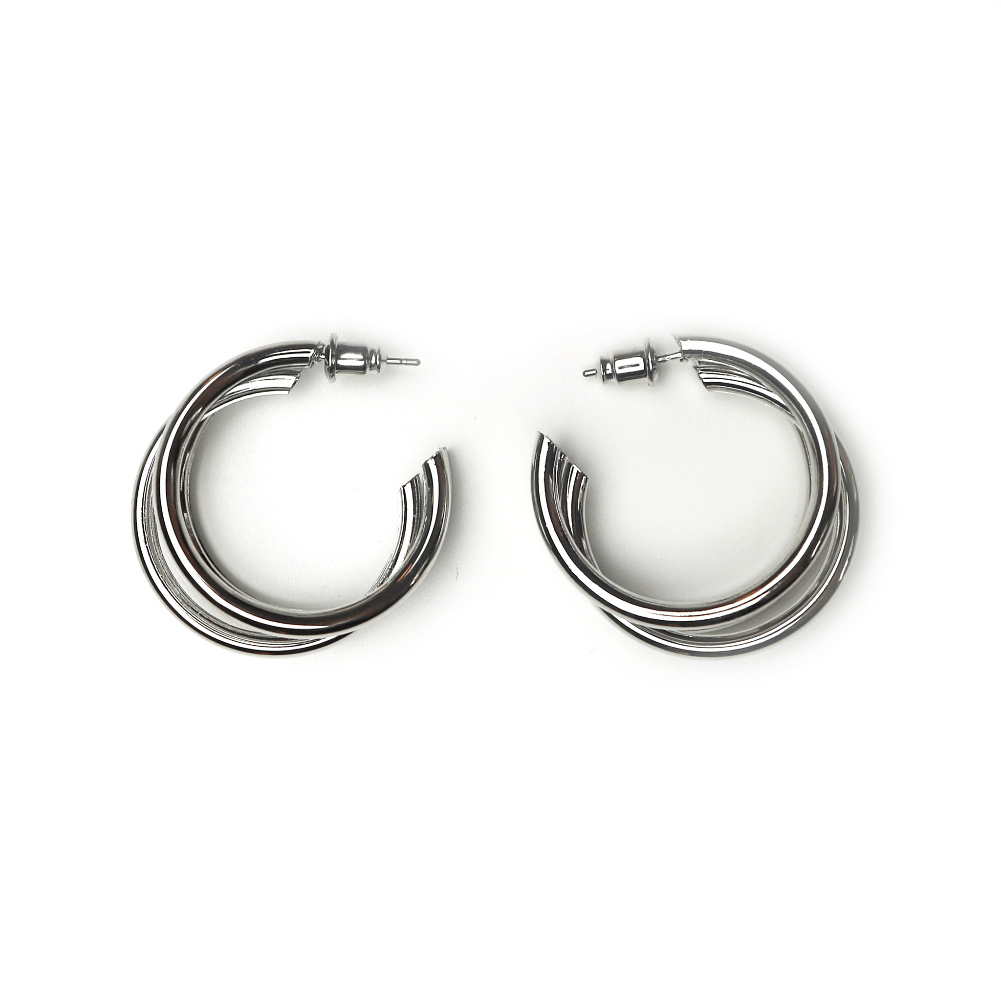 Triple Hoop Earrings Silver Medium