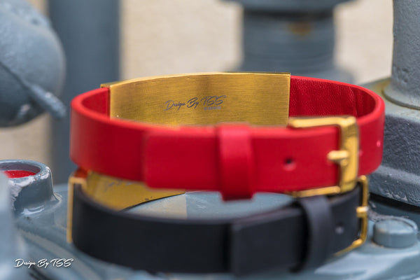 Black Leather Bracelet - GOLDENGILT