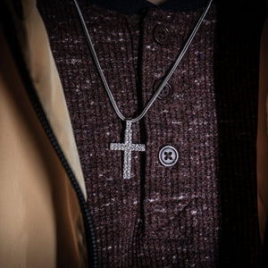 Silver Cross - Double Row Pendant