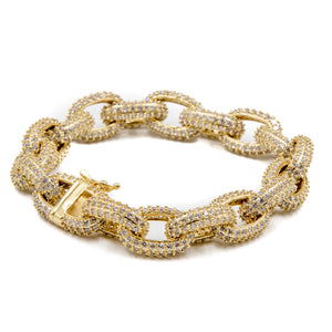Studded Chain Link Rolo Bracelet - 18K Gold Plated - GOLDENGILT