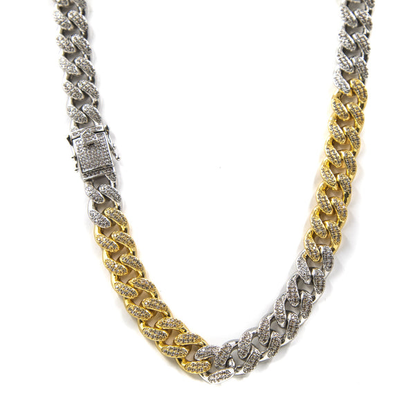 Studded 2 Tone Cuban Link Necklace 14mm - GOLDENGILT