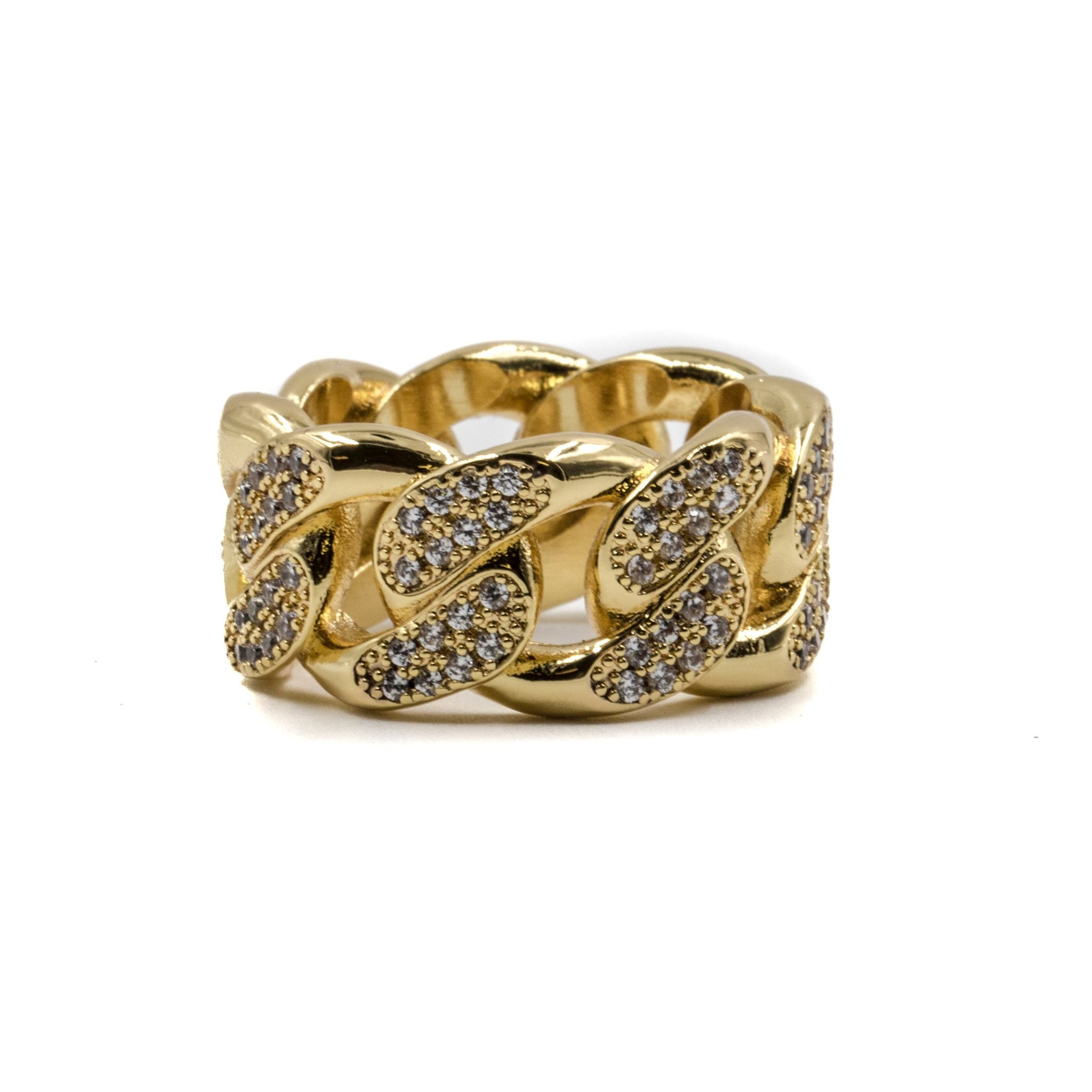 Studded Cuban Link Ring - 18K Gold Plated - GOLDENGILT