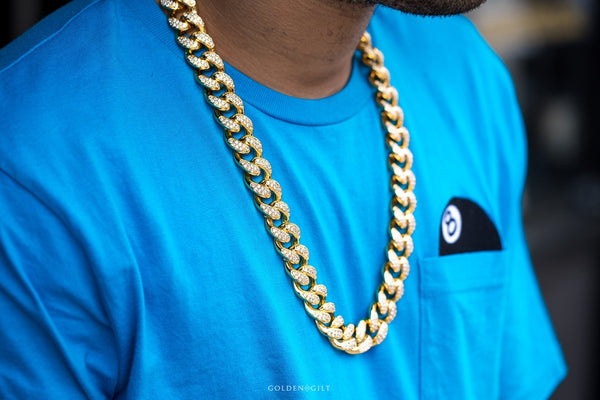 Stone Studded Cuban Link Necklace - GOLDENGILT