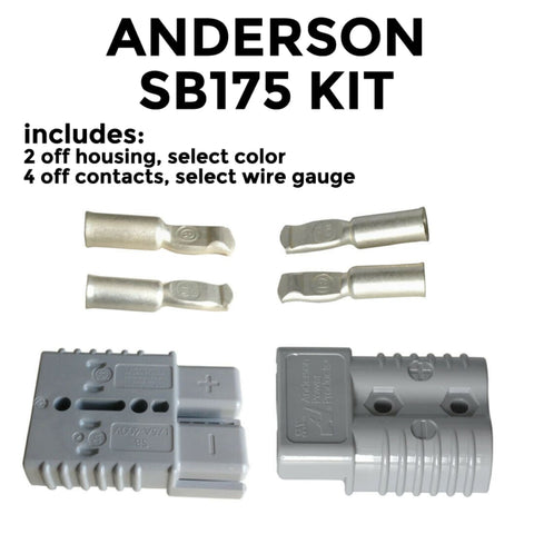 Anderson SB 175 Amp KIT of 2 connectors select housing color and wire gauge - Battery Connector