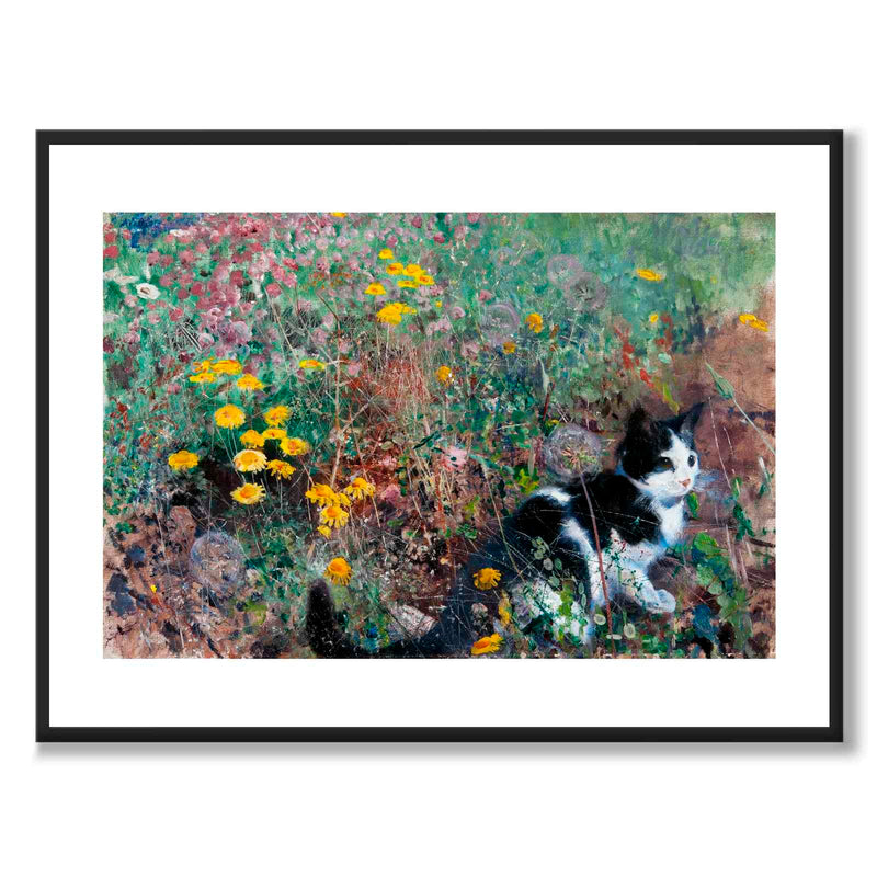 Cat on a Flowery Meadow - Poster