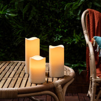 3er Set LED Outdoor Kerzen Timer
