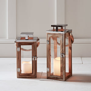 Salcombe Holz LED Laternen Duo