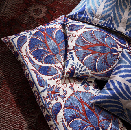 The Babylon Collection | Blue & Red Flower  Suzani Cushions