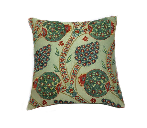 Green Suzani Ikat Cushion