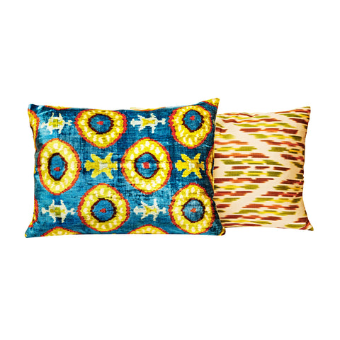 Velvet ikat Luxury silk cushions