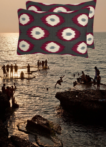 The Parties and our Riva Double Sided Ikat Cushion