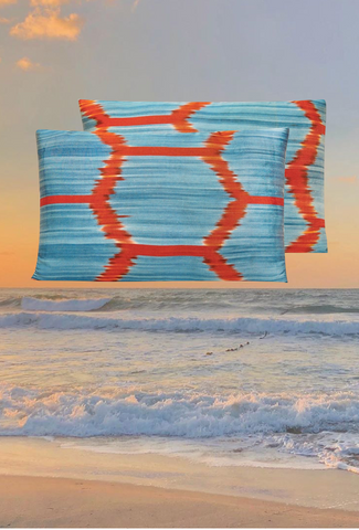 The Sea and our Geometric Motif Handwoven Silk Ikat Cushion