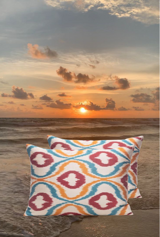 The Sunset and our Citrus Orange Ikat Cushion
