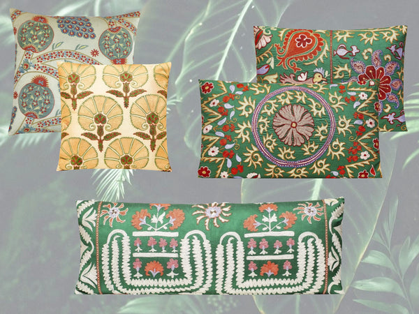 suzani cushions green edit
