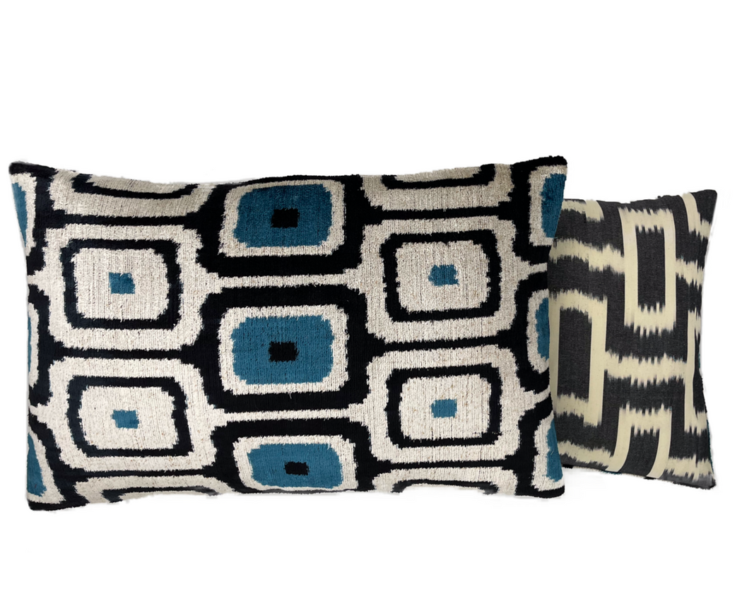 Velvet Ikat double sided cushion cover blue black